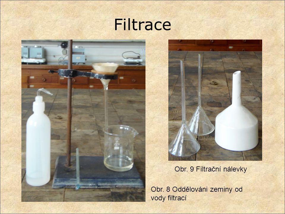 Filtrace Obr. 8 Oddělováni zeminy od vody filtrací Obr. 9 Filtrační nálevky