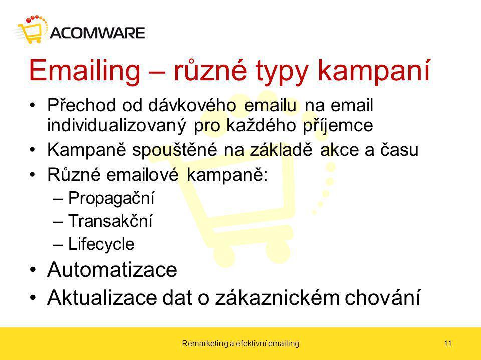 Emailing – různé typy kampaní Přechod od dávkového emailu na email individualizovaný pro každého příjemce Kampaně spouštěné na základě akce a času Různé emailové kampaně: –Propagační –Transakční –Lifecycle Automatizace Aktualizace dat o zákaznickém chování Remarketing a efektivní emailing11