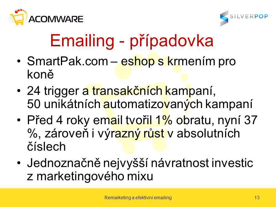 Emailing - případovka SmartPak.com – eshop s krmením pro koně 24 trigger a transakčních kampaní, 50 unikátních automatizovaných kampaní Před 4 roky email tvořil 1% obratu, nyní 37 %, zároveň i výrazný růst v absolutních číslech Jednoznačně nejvyšší návratnost investic z marketingového mixu Remarketing a efektivní emailing13