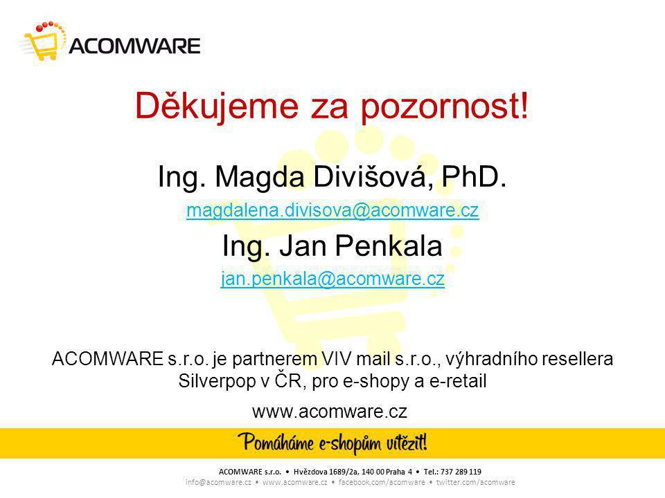 Děkujeme za pozornost.Ing. Magda Divišová, PhD. magdalena.divisova@acomware.cz Ing.