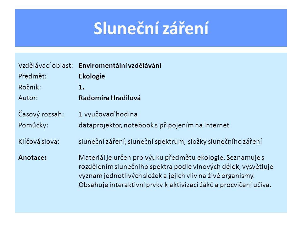 Sluneční záření Vzdělávací oblast:Enviromentální vzdělávání Předmět:Ekologie Ročník:1.