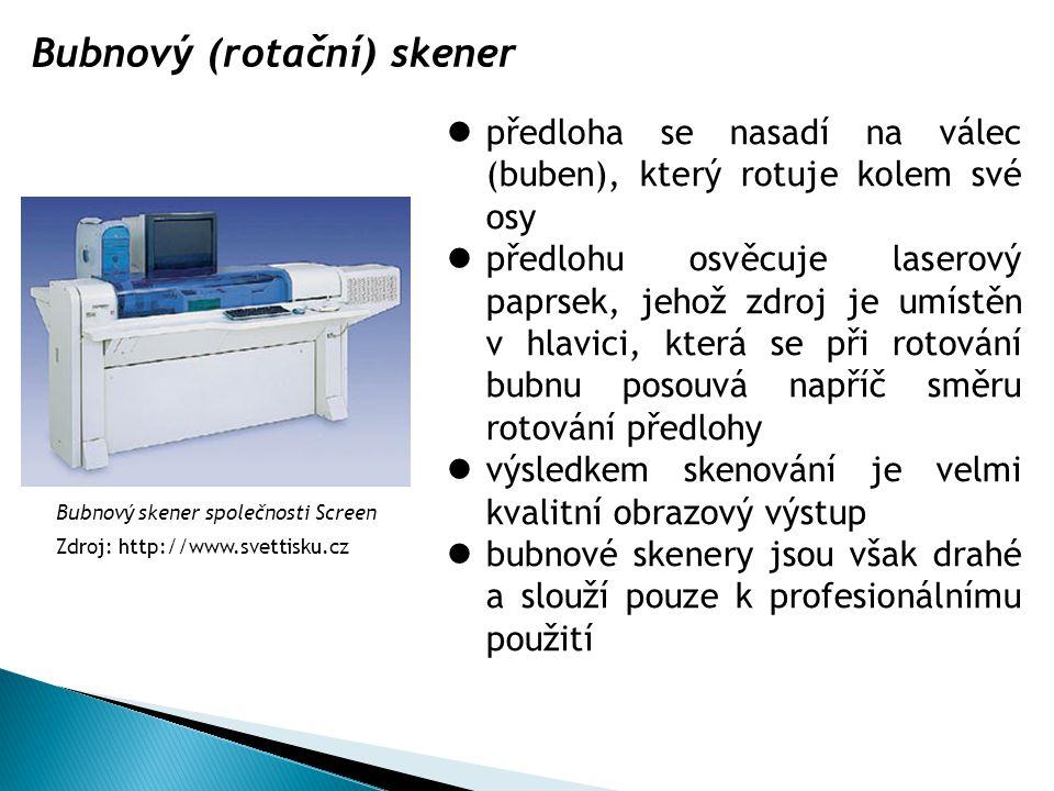 Bubnový (rotační) skener předloha se nasadí na válec (buben), který rotuje kolem své osy předlohu osvěcuje laserový paprsek, jehož zdroj je umístěn v