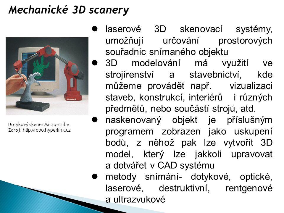 laserové 3D skenovací systémy, umožňují určování prostorových souřadnic snímaného objektu 3D modelování má využití ve strojírenství a stavebnictví, kd