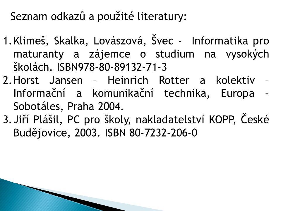 Seznam odkazů a použité literatury: 1.Klimeš, Skalka, Lovászová, Švec - Informatika pro maturanty a zájemce o studium na vysokých školách. ISBN978-80-