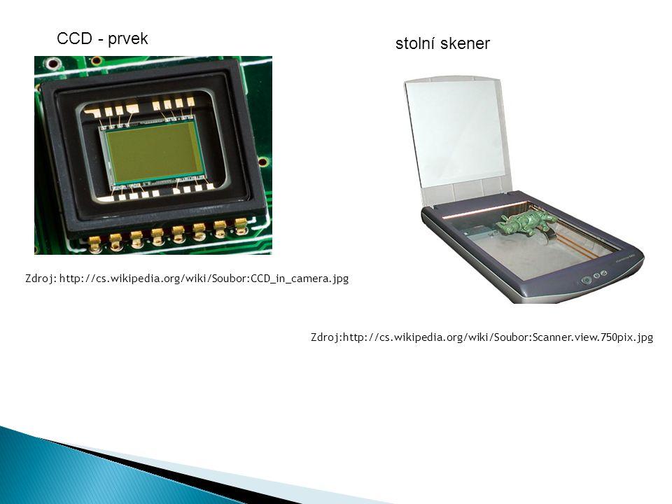 CCD - prvek stolní skener Zdroj:http://cs.wikipedia.org/wiki/Soubor:Scanner.view.750pix.jpg Zdroj: http://cs.wikipedia.org/wiki/Soubor:CCD_in_camera.j