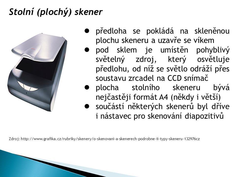Stolní (plochý) skener předloha se pokládá na skleněnou plochu skeneru a uzavře se víkem pod sklem je umístěn pohyblivý světelný zdroj, který osvětluj