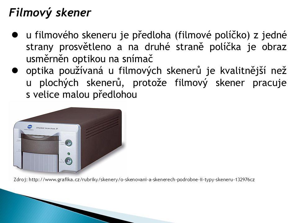u filmového skeneru je předloha (filmové políčko) z jedné strany prosvětleno a na druhé straně políčka je obraz usměrněn optikou na snímač optika použ
