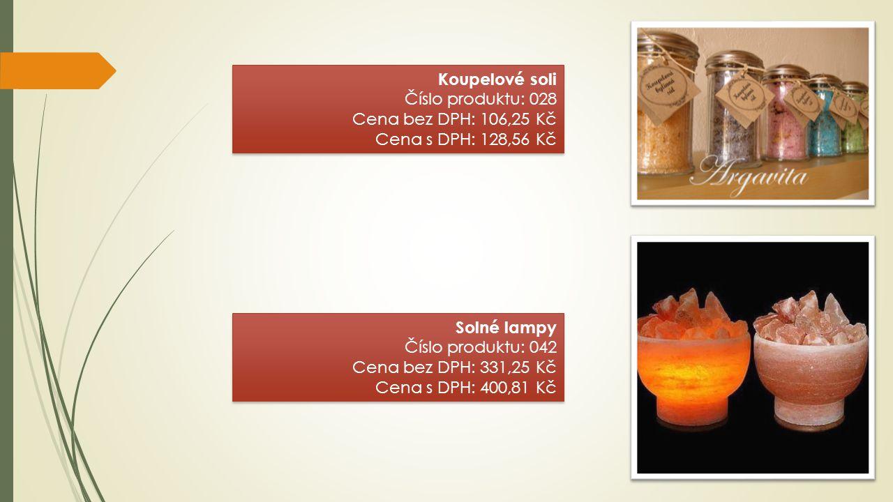 Koupelové soli Číslo produktu: 028 Cena bez DPH: 106,25 Kč Cena s DPH: 128,56 Kč Koupelové soli Číslo produktu: 028 Cena bez DPH: 106,25 Kč Cena s DPH