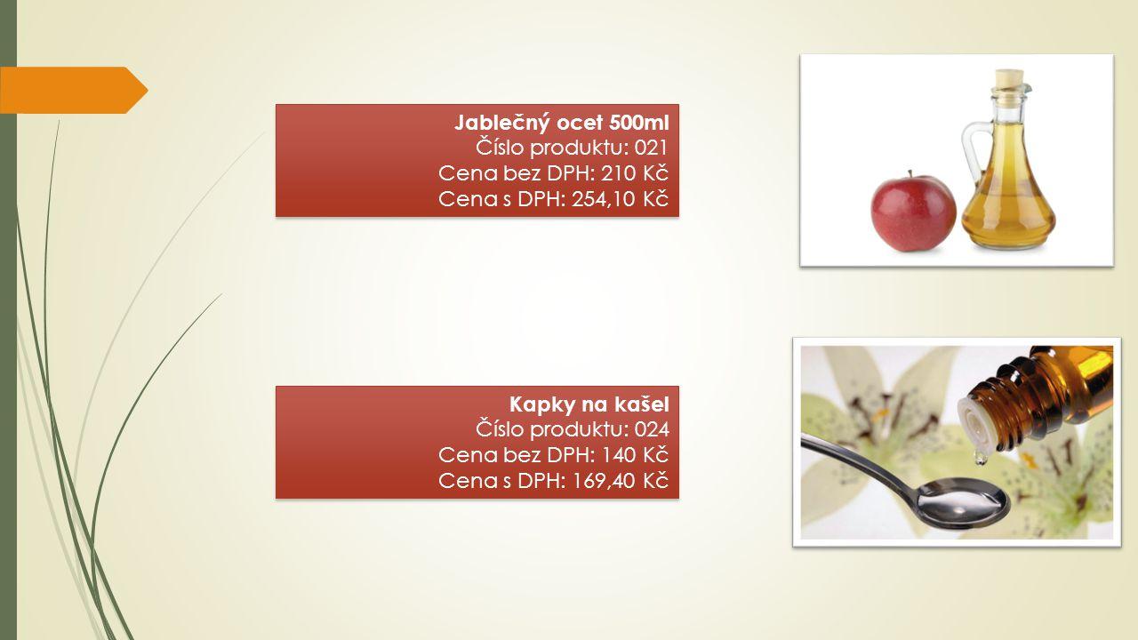 Jablečný ocet 500ml Číslo produktu: 021 Cena bez DPH: 210 Kč Cena s DPH: 254,10 Kč Jablečný ocet 500ml Číslo produktu: 021 Cena bez DPH: 210 Kč Cena s
