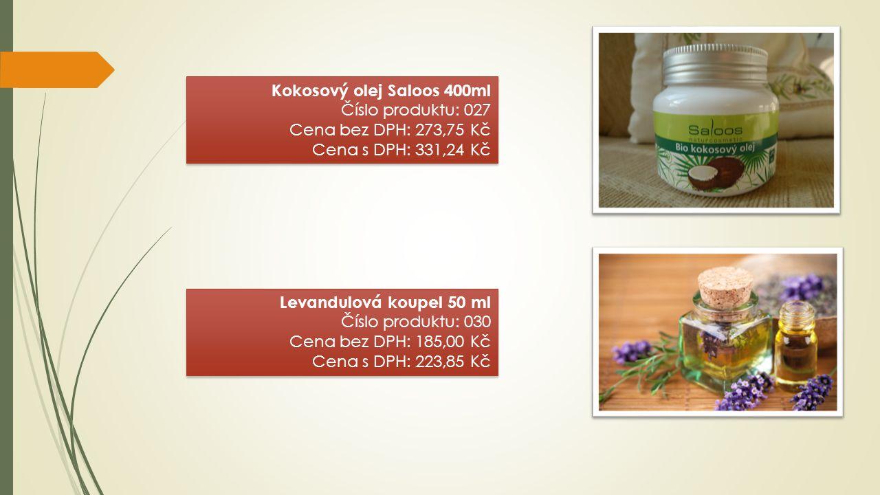 Kokosový olej Saloos 400ml Číslo produktu: 027 Cena bez DPH: 273,75 Kč Cena s DPH: 331,24 Kč Kokosový olej Saloos 400ml Číslo produktu: 027 Cena bez D