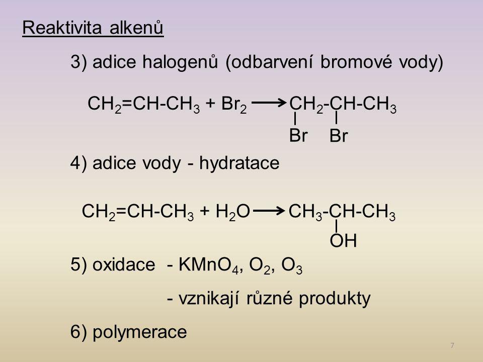 8 Alkadieny -s izolovanými dvojnými vazbami jako alkeny -konjugované dieny – dochází k DELOKALIZACI (rozprostření π e - po celé molekule) Nejvýznamnější alkadien: izopren (2-methylbuta-1,3-dien) CH 3 CH 2 =C-CH=CH 2