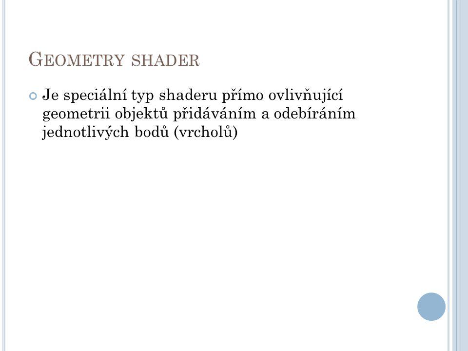 G EOMETRY SHADER Je speciální typ shaderu přímo ovlivňující geometrii objektů přidáváním a odebíráním jednotlivých bodů (vrcholů)