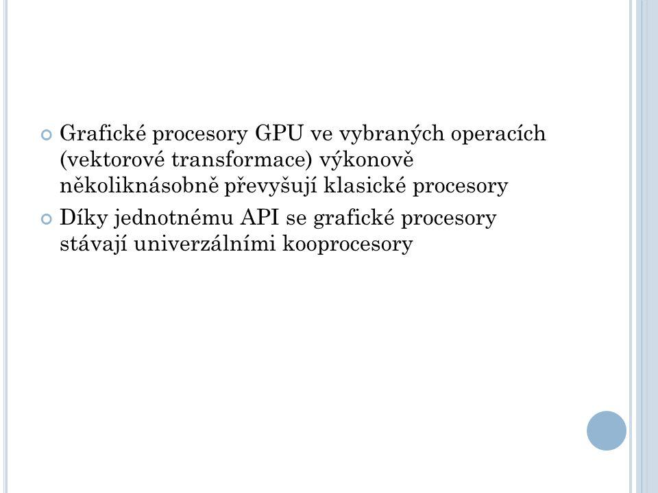 Grafické procesory GPU ve vybraných operacích (vektorové transformace) výkonově několiknásobně převyšují klasické procesory Díky jednotnému API se grafické procesory stávají univerzálními kooprocesory
