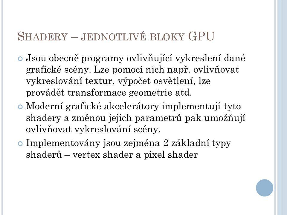 S HADERY – JEDNOTLIVÉ BLOKY GPU Jsou obecně programy ovlivňující vykreslení dané grafické scény.