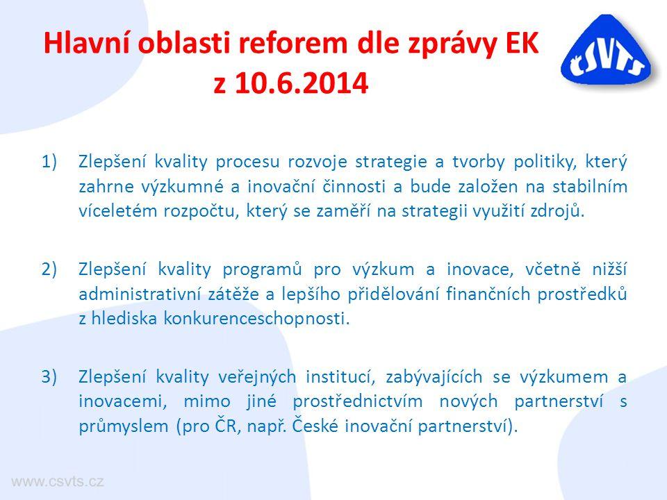 Hlavní oblasti reforem dle zprávy EK z 10.6.2014 1)Zlepšení kvality procesu rozvoje strategie a tvorby politiky, který zahrne výzkumné a inovační činnosti a bude založen na stabilním víceletém rozpočtu, který se zaměří na strategii využití zdrojů.