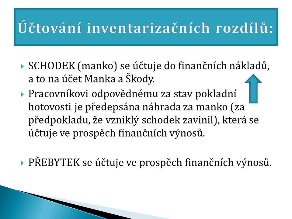  SCHODEK (manko) se účtuje do finančních nákladů, a to na účet Manka a Škody.