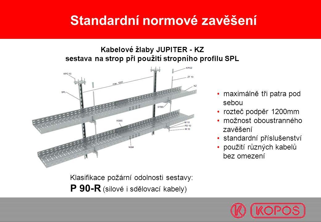 Standardní normové zavěšení maximálně tři patra pod sebou rozteč podpěr 1200mm možnost oboustranného zavěšení standardní příslušenství použití různých