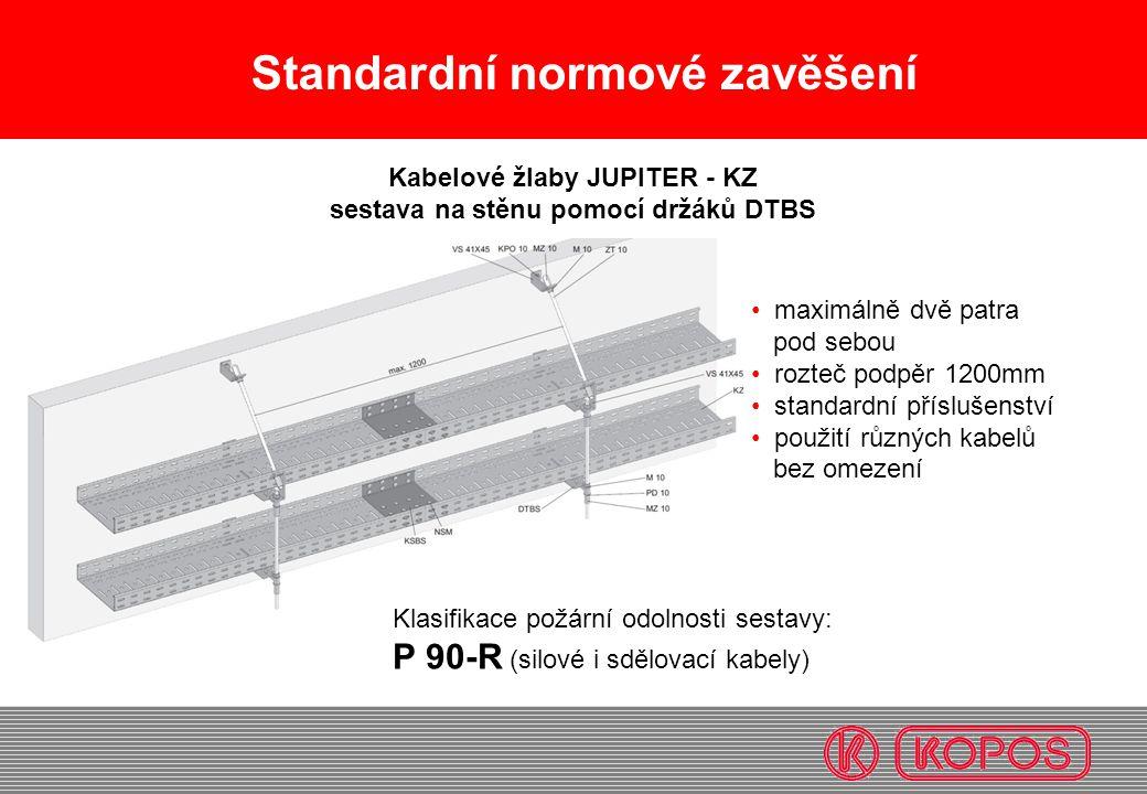 Standardní normové zavěšení maximálně dvě patra pod sebou rozteč podpěr 1200mm standardní příslušenství použití různých kabelů bez omezení Kabelové žl