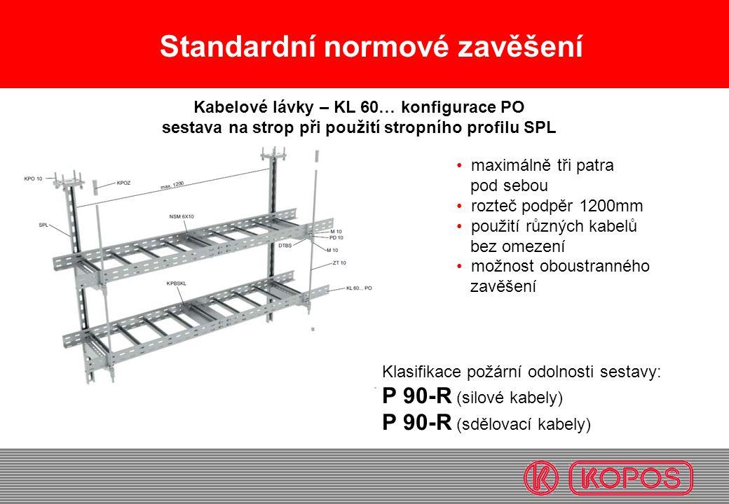 Standardní normové zavěšení maximálně tři patra pod sebou rozteč podpěr 1200mm použití různých kabelů bez omezení možnost oboustranného zavěšení Kabel