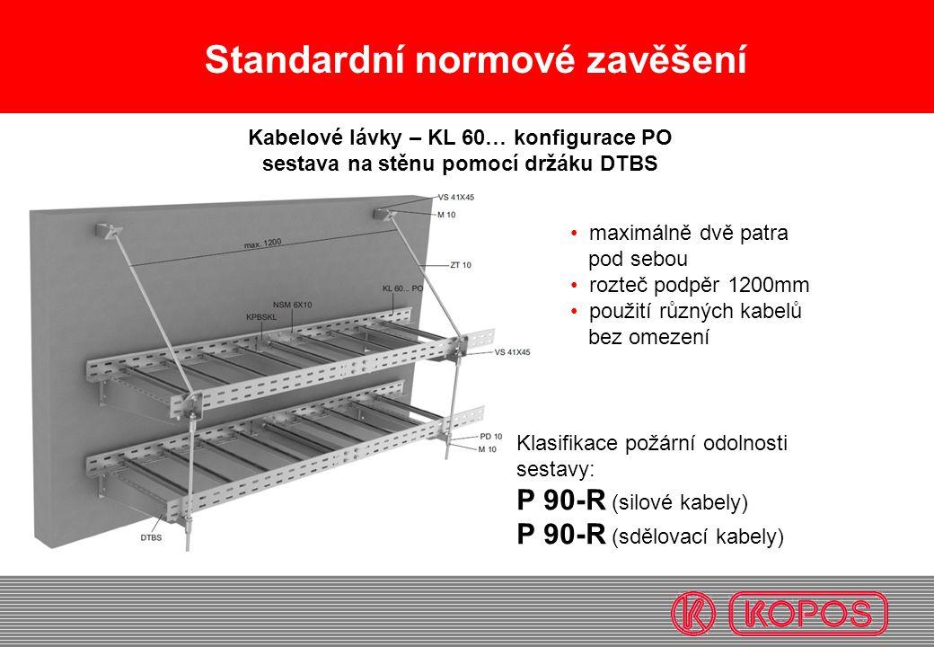 Standardní normové zavěšení maximálně dvě patra pod sebou rozteč podpěr 1200mm použití různých kabelů bez omezení Kabelové lávky – KL 60… konfigurace