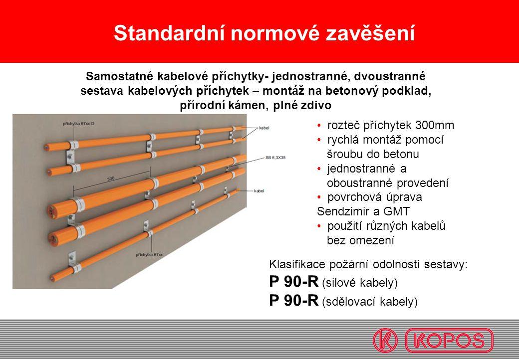 Standardní normové zavěšení rozteč příchytek 300mm rychlá montáž pomocí šroubu do betonu jednostranné a oboustranné provedení povrchová úprava Sendzim