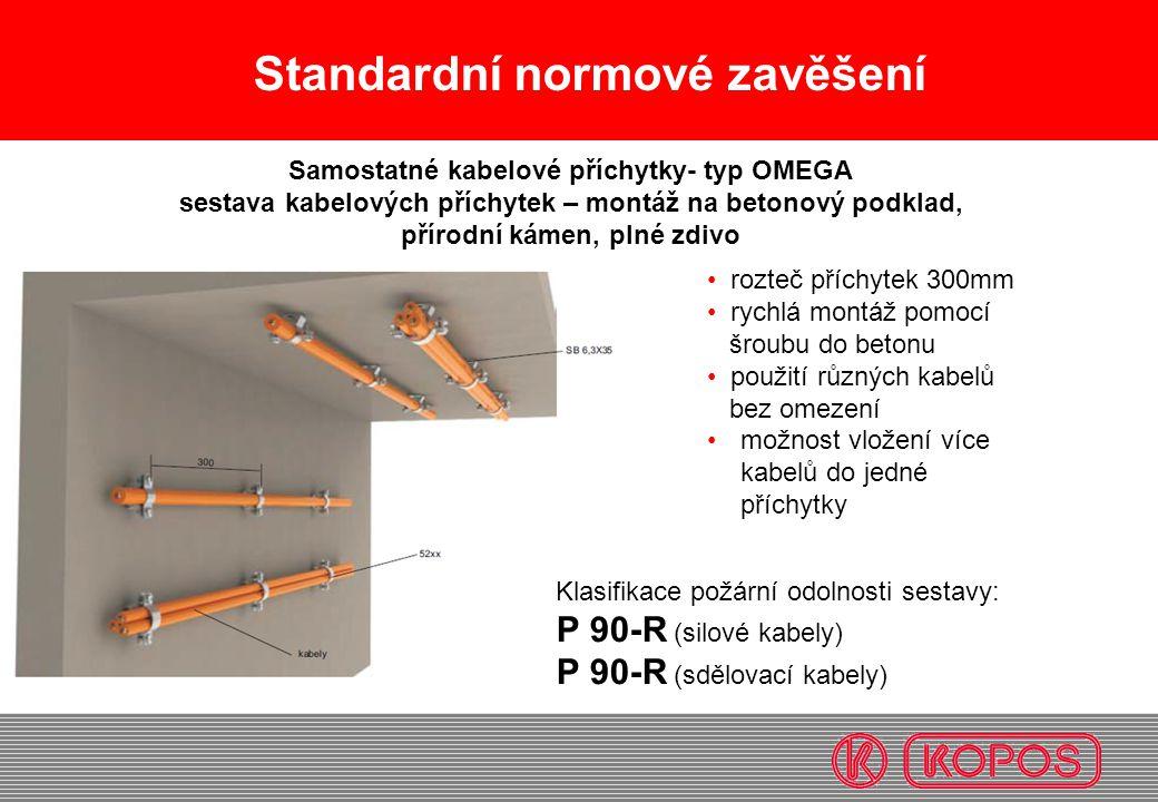 Standardní normové zavěšení rozteč příchytek 300mm rychlá montáž pomocí šroubu do betonu použití různých kabelů bez omezení možnost vložení více kabel