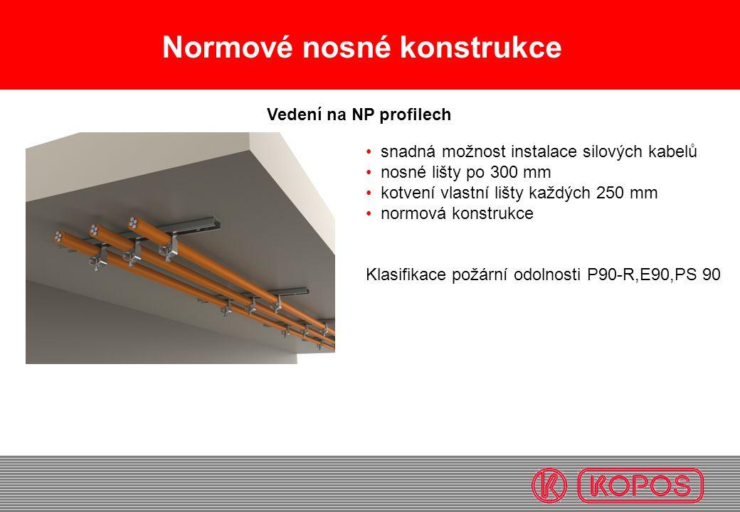 Normové nosné konstrukce snadná možnost instalace silových kabelů nosné lišty po 300 mm kotvení vlastní lišty každých 250 mm normová konstrukce Klasif