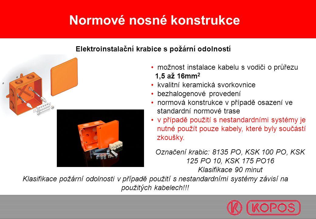Normové nosné konstrukce možnost instalace kabelu s vodiči o průřezu 1,5 až 16mm 2 kvalitní keramická svorkovnice bezhalogenové provedení normová kons