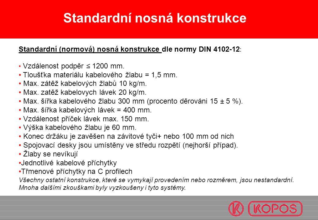 Standardní (normová) nosná konstrukce dle normy DIN 4102-12 : Vzdálenost podpěr ≤ 1200 mm. Tloušťka materiálu kabelového žlabu = 1,5 mm. Max. zátěž ka