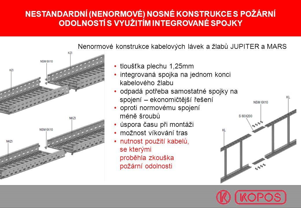 NESTANDARDNÍ (NENORMOVÉ) NOSNÉ KONSTRUKCE S POŽÁRNÍ ODOLNOSTÍ S VYUŽITÍM INTEGROVANÉ SPOJKY tloušťka plechu 1,25mm integrovaná spojka na jednom konci