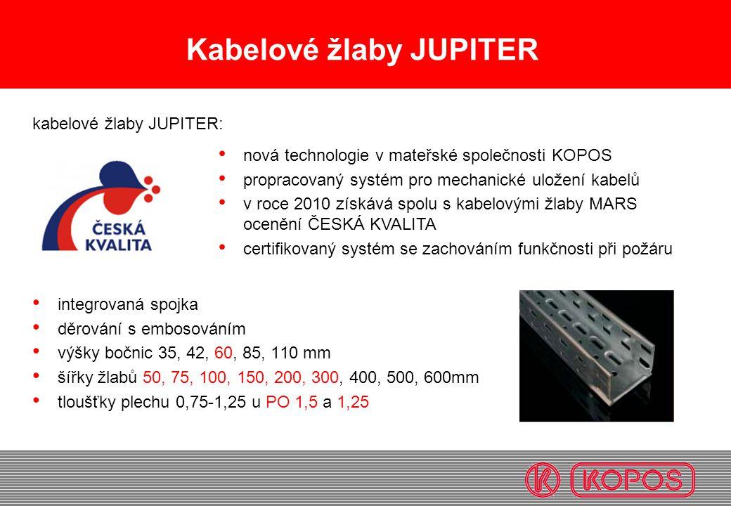 Kabelové žlaby JUPITER integrovaná spojka děrování s embosováním výšky bočnic 35, 42, 60, 85, 110 mm šířky žlabů 50, 75, 100, 150, 200, 300, 400, 500,
