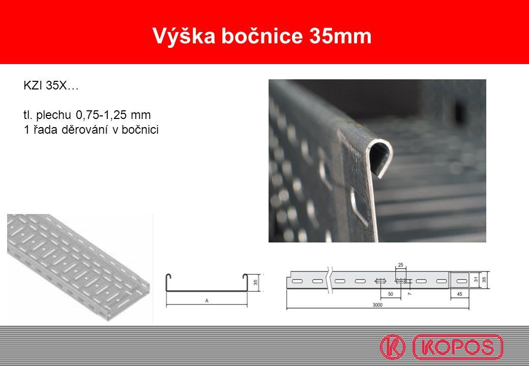 Výška bočnice 35mm KZI 35X… tl. plechu 0,75-1,25 mm 1 řada děrování v bočnici