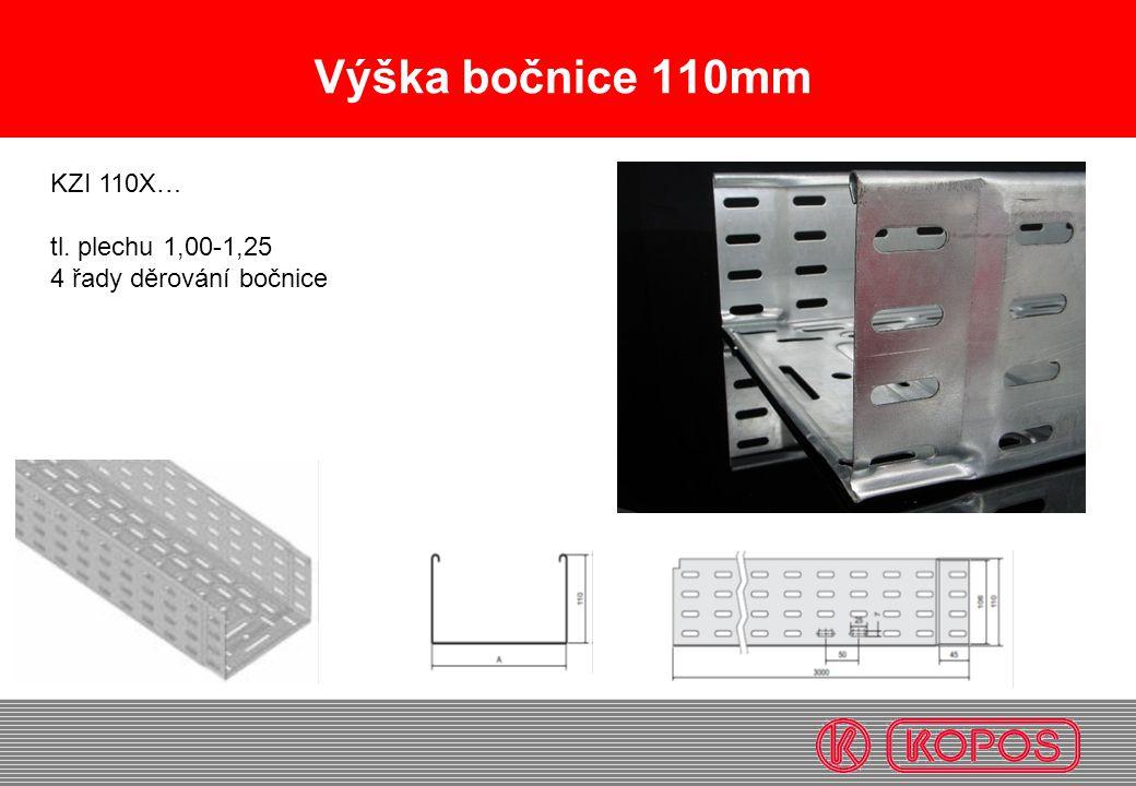 Výška bočnice 110mm KZI 110X… tl. plechu 1,00-1,25 4 řady děrování bočnice