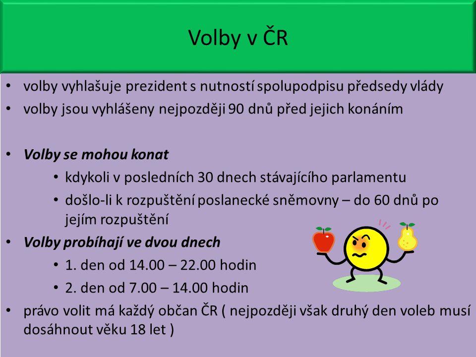 Volby v ČR volby vyhlašuje prezident s nutností spolupodpisu předsedy vlády volby jsou vyhlášeny nejpozději 90 dnů před jejich konáním Volby se mohou