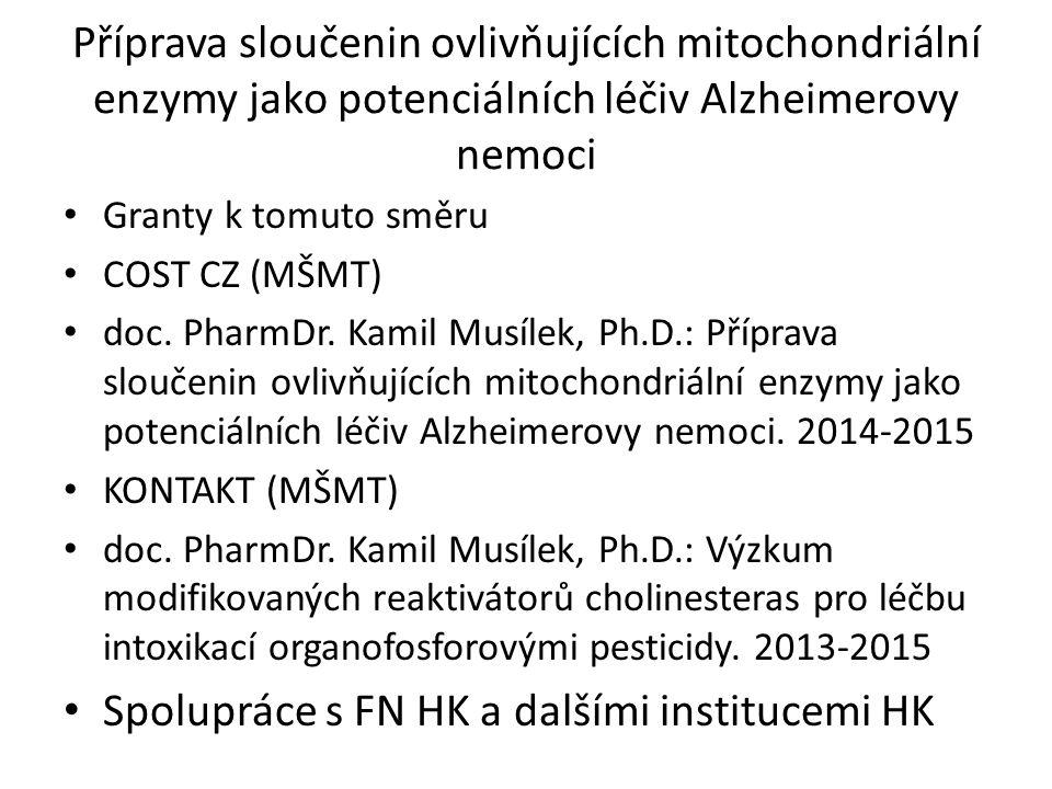 Příprava sloučenin ovlivňujících mitochondriální enzymy jako potenciálních léčiv Alzheimerovy nemoci Granty k tomuto směru COST CZ (MŠMT) doc. PharmDr
