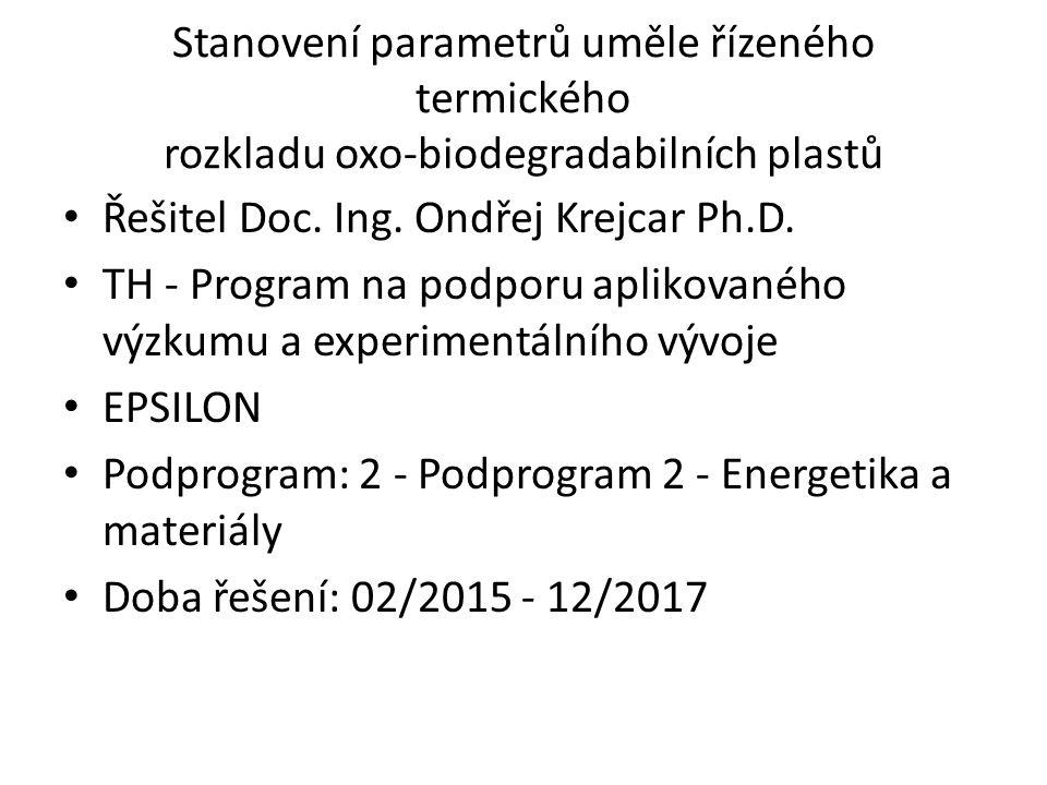 Stanovení parametrů uměle řízeného termického rozkladu oxo-biodegradabilních plastů Řešitel Doc. Ing. Ondřej Krejcar Ph.D. TH - Program na podporu apl