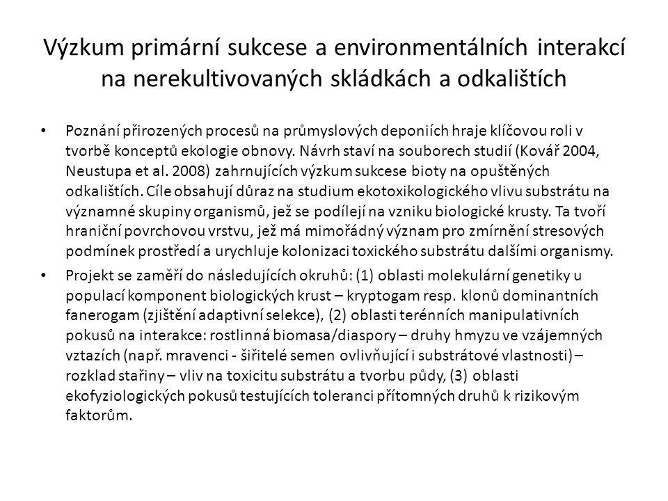 Výzkum primární sukcese a environmentálních interakcí na nerekultivovaných skládkách a odkalištích Poznání přirozených procesů na průmyslových deponií