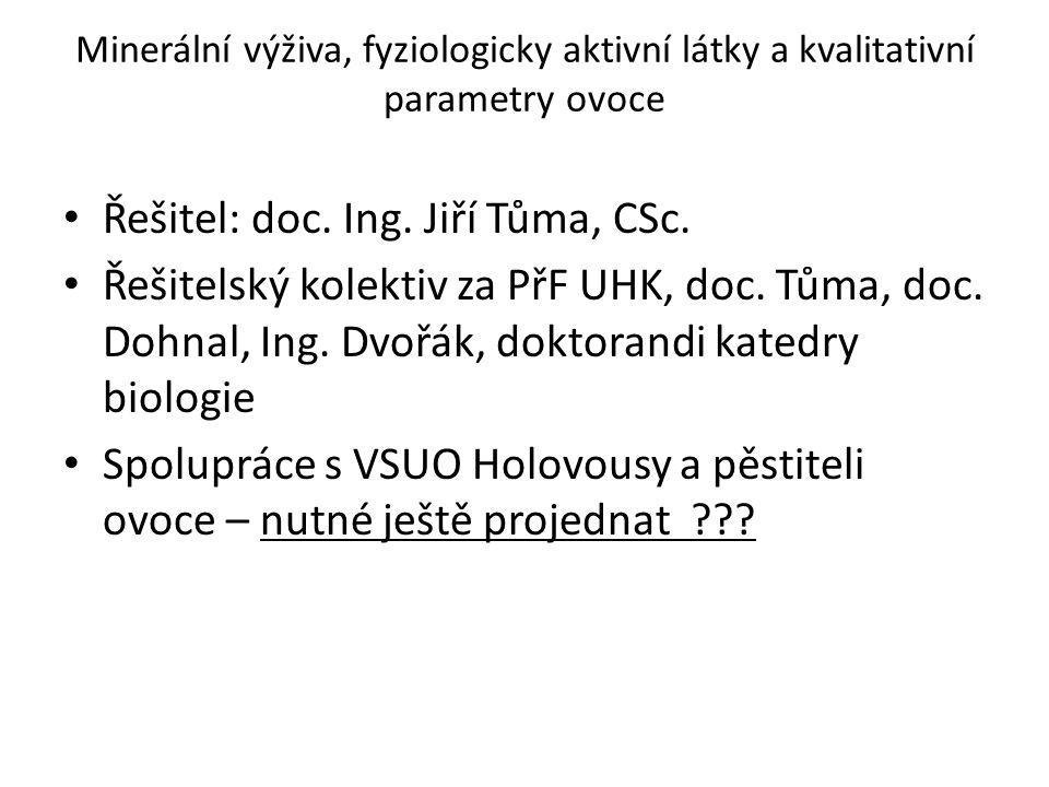 Minerální výživa, fyziologicky aktivní látky a kvalitativní parametry ovoce Řešitel: doc. Ing. Jiří Tůma, CSc. Řešitelský kolektiv za PřF UHK, doc. Tů