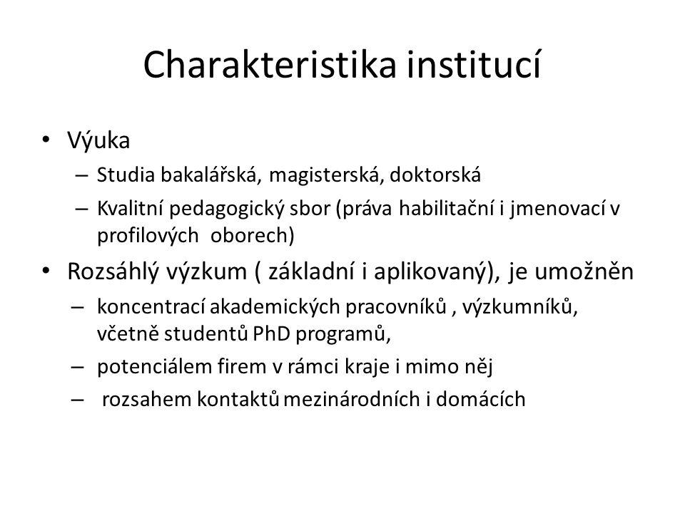 Charakteristika institucí Výuka – Studia bakalářská, magisterská, doktorská – Kvalitní pedagogický sbor (práva habilitační i jmenovací v profilových o