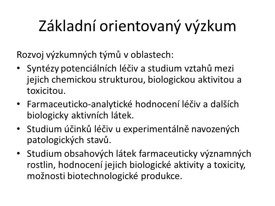 Základní orientovaný výzkum Rozvoj výzkumných týmů v oblastech: Syntézy potenciálních léčiv a studium vztahů mezi jejich chemickou strukturou, biologi