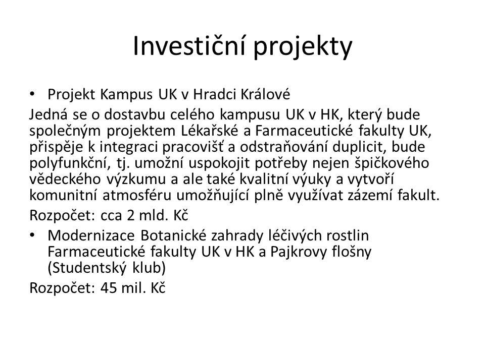 Investiční projekty Projekt Kampus UK v Hradci Králové Jedná se o dostavbu celého kampusu UK v HK, který bude společným projektem Lékařské a Farmaceut