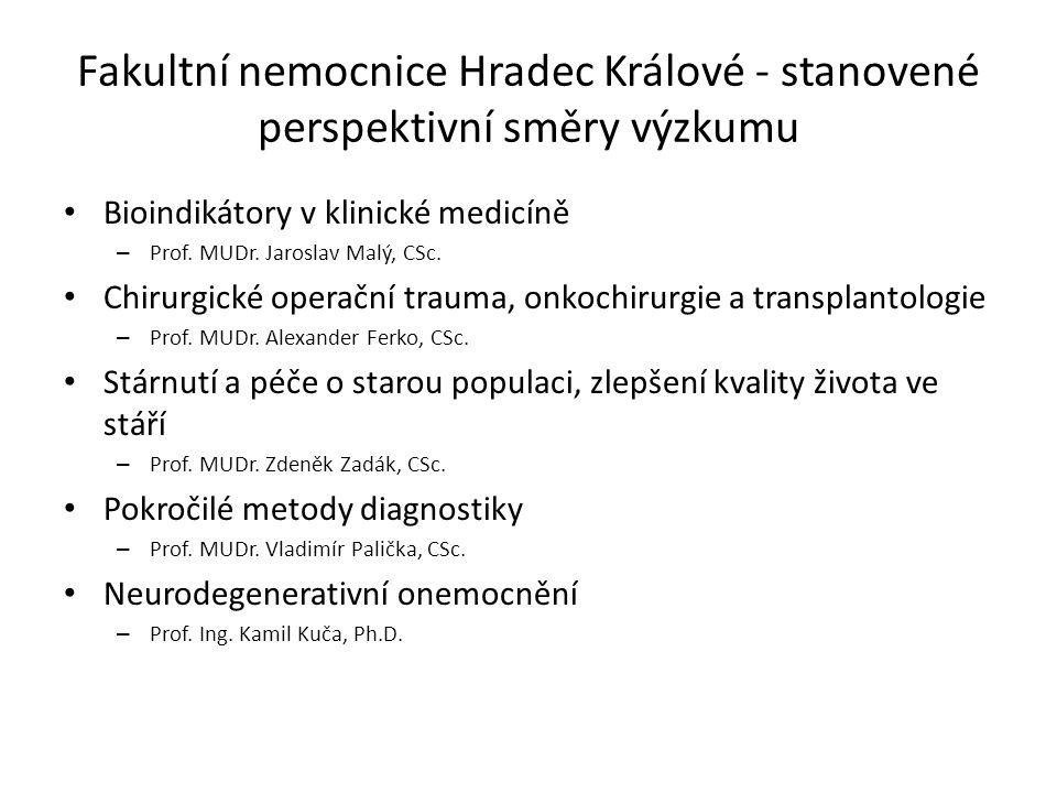 Fakultní nemocnice Hradec Králové - stanovené perspektivní směry výzkumu Bioindikátory v klinické medicíně – Prof. MUDr. Jaroslav Malý, CSc. Chirurgic
