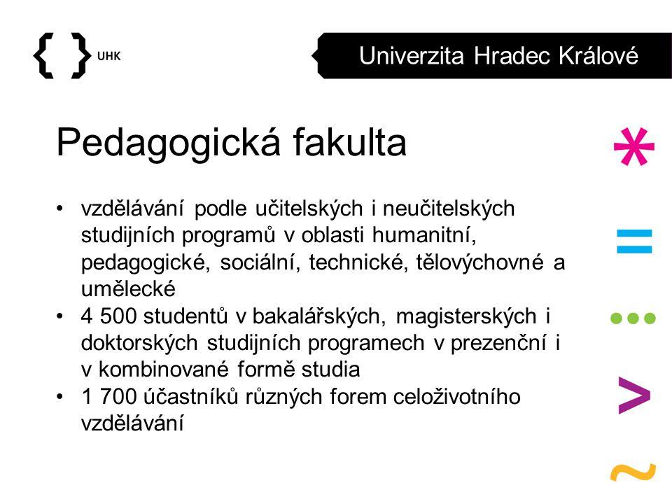 Univerzita Hradec Králové Pedagogická fakulta vzdělávání podle učitelských i neučitelských studijních programů v oblasti humanitní, pedagogické, sociá