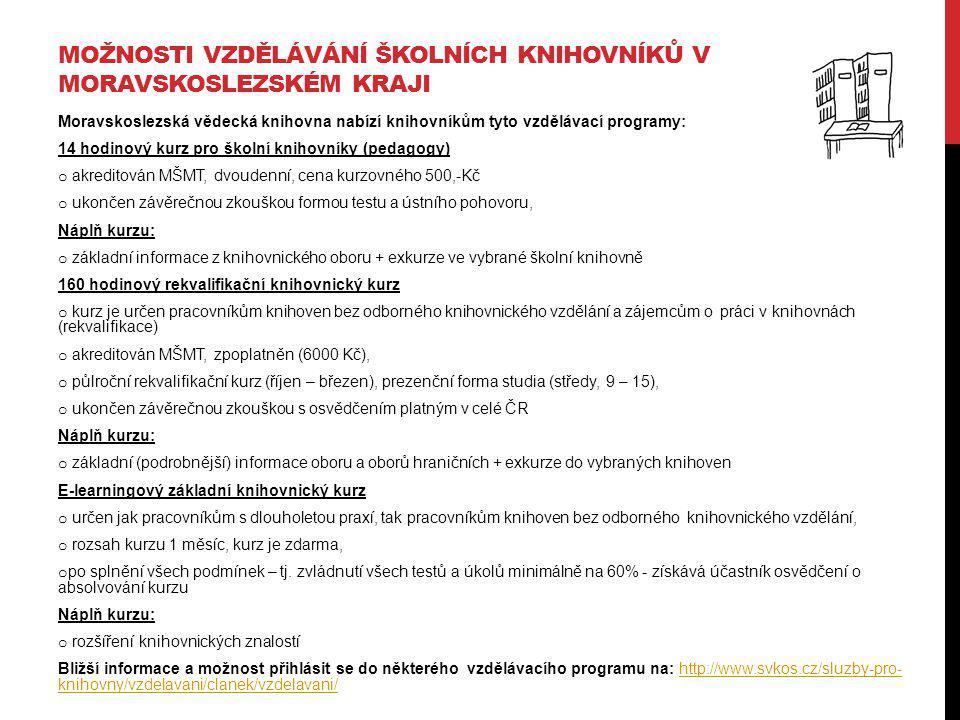 MOŽNOSTI VZDĚLÁVÁNÍ ŠKOLNÍCH KNIHOVNÍKŮ V MORAVSKOSLEZSKÉM KRAJI Moravskoslezská vědecká knihovna nabízí knihovníkům tyto vzdělávací programy: 14 hodi