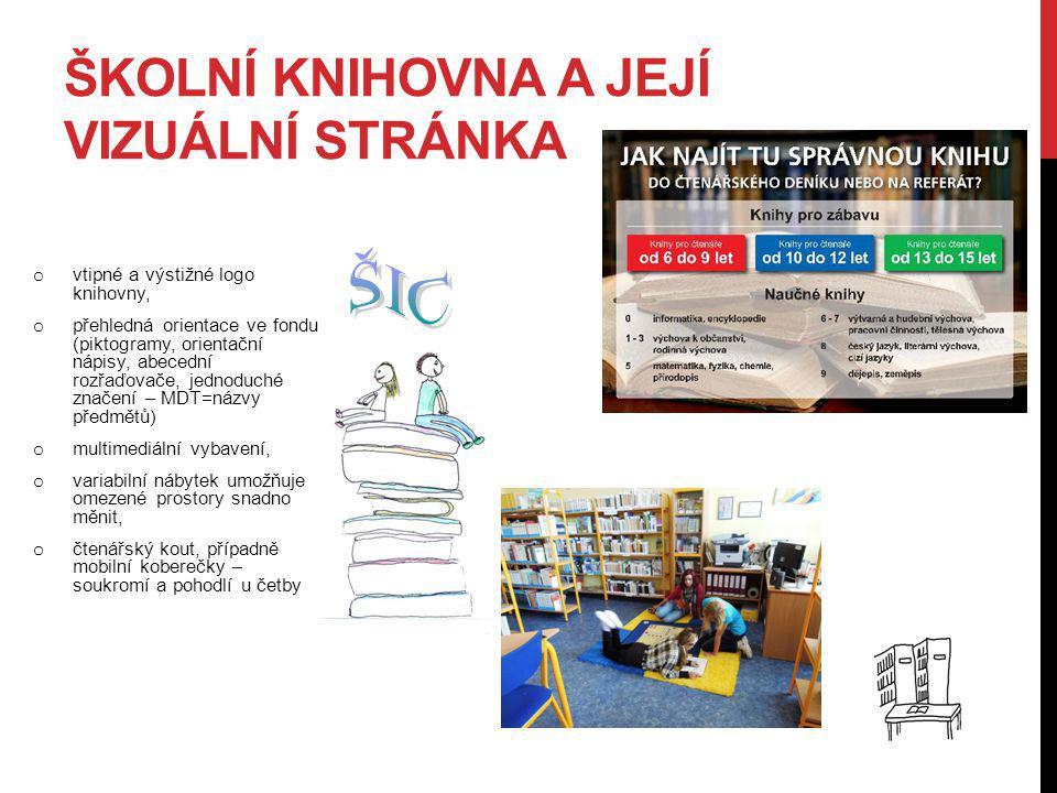 ŠKOLNÍ KNIHOVNA A JEJÍ VIZUÁLNÍ STRÁNKA o vtipné a výstižné logo knihovny, o přehledná orientace ve fondu (piktogramy, orientační nápisy, abecední roz