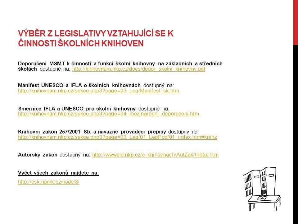 VÝBĚR Z LEGISLATIVY VZTAHUJÍCÍ SE K ČINNOSTI ŠKOLNÍCH KNIHOVEN Doporučení MŠMT k činnosti a funkci školní knihovny na základních a středních školách d