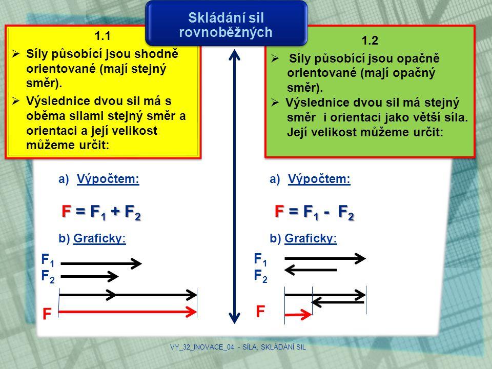 1.2  Síly působící jsou opačně orientované (mají opačný směr).  Výslednice dvou sil má stejný směr i orientaci jako větší síla. Její velikost můžeme