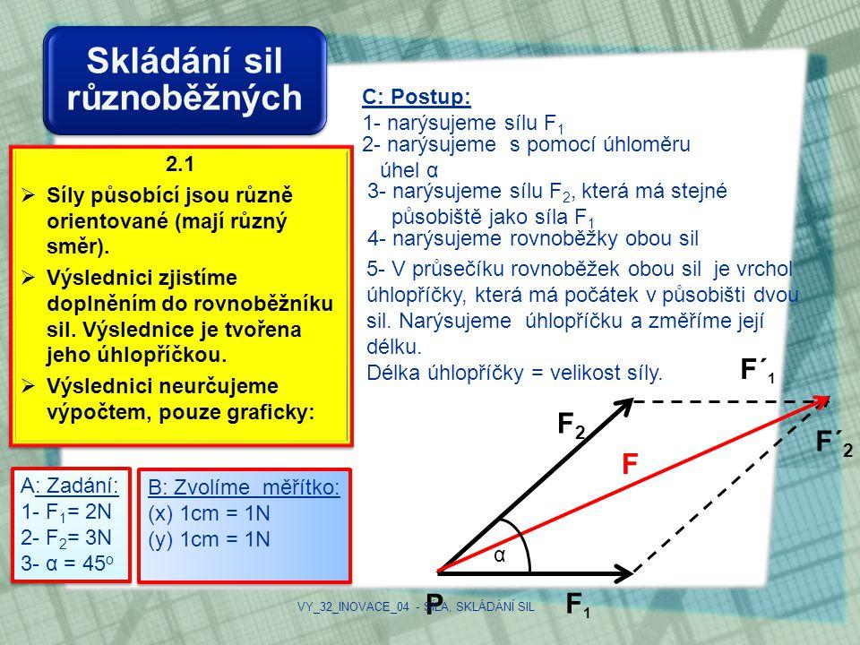 Skládání sil různoběžných 2.1  Síly působící jsou různě orientované (mají různý směr).  Výslednici zjistíme doplněním do rovnoběžníku sil. Výslednic