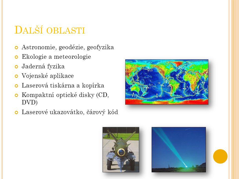 D ALŠÍ OBLASTI Astronomie, geodézie, geofyzika Ekologie a meteorologie Jaderná fyzika Vojenské aplikace Laserová tiskárna a kopírka Kompaktní optické