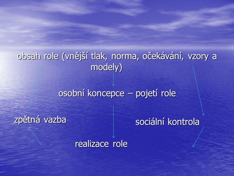 obsah role (vnější tlak, norma, očekávání, vzory a modely) osobní koncepce – pojetí role osobní koncepce – pojetí role zpětná vazba realizace role rea